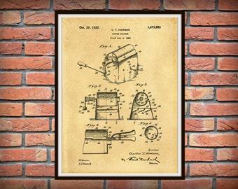 Patent 1923 Coffee Roaster - Wall Art Print - Kitchen Art- Poster - Restaurant Wall Art - Housewares - Coffee Shop Wall Art