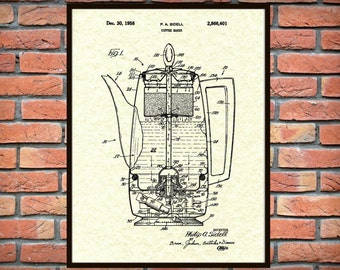 1958 Coffee Pot Patent - Wall Art Print - Kitchen Decor - Poster - Restaurant Wall Art - Coffee Shop Wall Art - Coffee Maker - Percolator