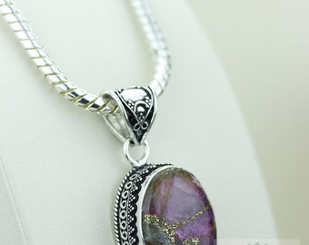 Purple PYRITE TURQUOISE VINTAGE Style  925 Solid Sterling Silver Pendant + 4mm Snake Chain p2252