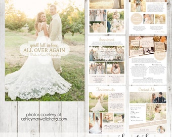 INSTANT DOWNLOAD - Wedding Magazine Template or Price List Template for wedding photographer Includes 8 Pages