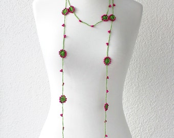 Beadwork Necklace, Crochet Lariat Necklace, Crochet Flower Necklace, Lariat Necklace, Flower Necklace, Lace Jewelry