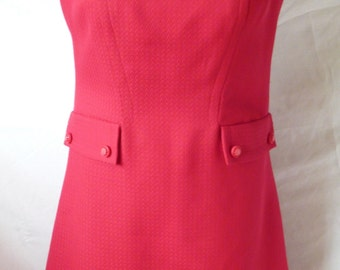 Vintage 1960s Ladies Red Herringbone Summer Dress