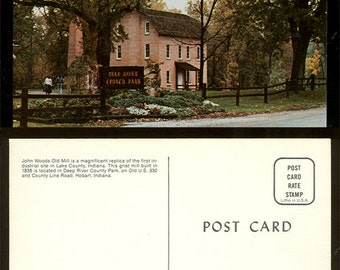 John Woods Old Mill Replica Deep River County Park Hobart, Indiana Postcard