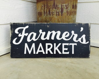 Farmer's Market painted, distressed black and white wood sign
