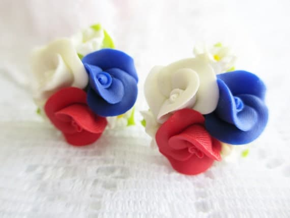 Red White and Blue Rose Earrings