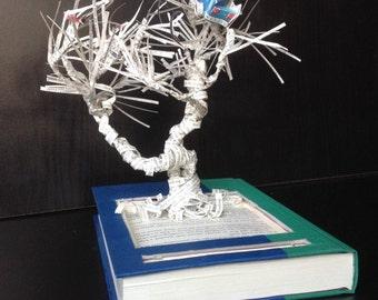 Book sculpture, book art, literature, paper sculpture, Harry Potter, nursery decor, Chamber of Secrets, Whomping Willow, repurposed book