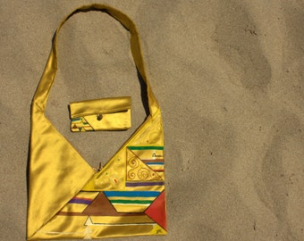 Geometric Golden evening hand made and hand painted bag with puchette