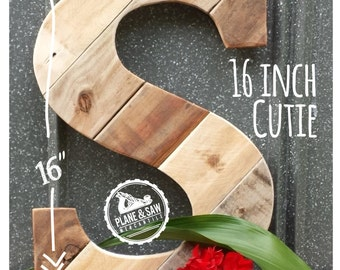 """16"""" Tall Rustic Letter S or any Letter, Wooden Letter, Rustic Decor Letter, Farmhouse, Industrial Decor, Barn Style Wedding, Reclaimed Wood"""