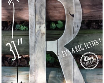 """31"""" Rustic Letter R, Big Wooden Letter, Farm, Country Wedding, Barn Wedding, Rustic Wood Letter, Nursery Letter, Rustic Wedding, Guestbook"""