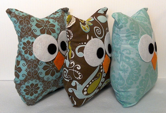 owl home decor fabric owl pillows home decor stuffed fabric owls by lovegrammababy 11687