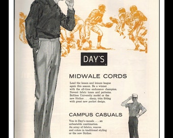 "Vintage Print Ad September 1962 : Day's Sportswear Illustration Football Fashion Clothing Wall Art Decor 8.5"" x 11"" Advertisement"