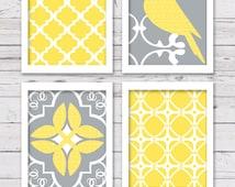 Printable Art Set, Yellow and Grey Art, Printable Art, Bird Art, Bedroom Art, INSTANT DOWNLOAD, Printable Wall Art, Wall Decor