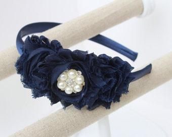 Navy blue headband flower girl headband navy blue wedding headband toddler headband navy blue flower girl outfit girls headband navy blue