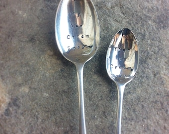 Pair of icecream spoons, Hand stamped spoon, vintage ice cream spoon