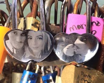 Photo Engraved Locked In Love Lock - Personalised Romantic Anniversary Wedding Padlock Gift
