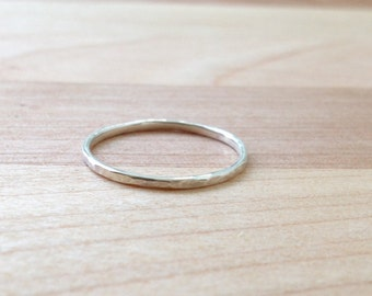 Hammered Silver Band Stacking Ring (size 7)