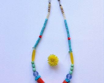 The Juno Necklace. Modern Jewelry, Handmade With Coral, Turquoise and Glass Beads.