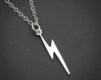 Lightning Bolt Necklace, Sterling Silver, Lightning Necklace, Minimalist Silver Necklace, Celestial Necklace, Lightning Bolt Charm