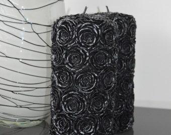 Black Rose Pillar Candle