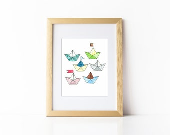 Paper Boats Print, Nautical Print, Instant Download