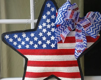 Patriotic, red white and blue, star, burlap door hanger. Spring or Summer door decoration or wreath. 4th of July, memorial day or labor day