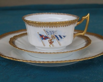 Bernardaud Limoges  D and C France  Higgins & Seiter Trio   Cup/Saucer/Plate