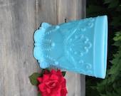 Blue Milk Glass Vase Pot Planter, Gift for Her, Blue Pot, Blue Vase, Depression,Pressed Glass, Shabby Chic Decor,New baby Boy, Grandmother