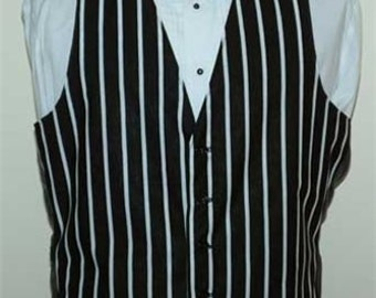 Men's Black & White Striped Cotton Pattern Vest