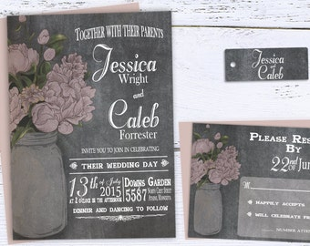 Rustic Chalkboard Wedding Invitation, Mason Jar Wedding Invitation, Printable Country Wedding, Spring Barn Wedding Invites, Blush Pink, DIY