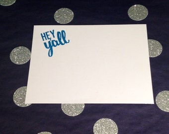 Embossed Southern Correspondence Cards/Note Cards and Envelopes - Hey Y'all - Blue and White - Set of 8