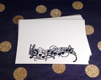 Music Note Folded Note Cards and Envelopes - Black and White - Set of 8