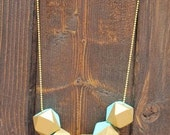 Geometric Wood Bead Necklace - Turquoise and Gold