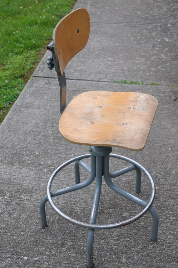 Wooden Drafting Stools ~ Vintage industrial wood swivel lab drafting stool shabby