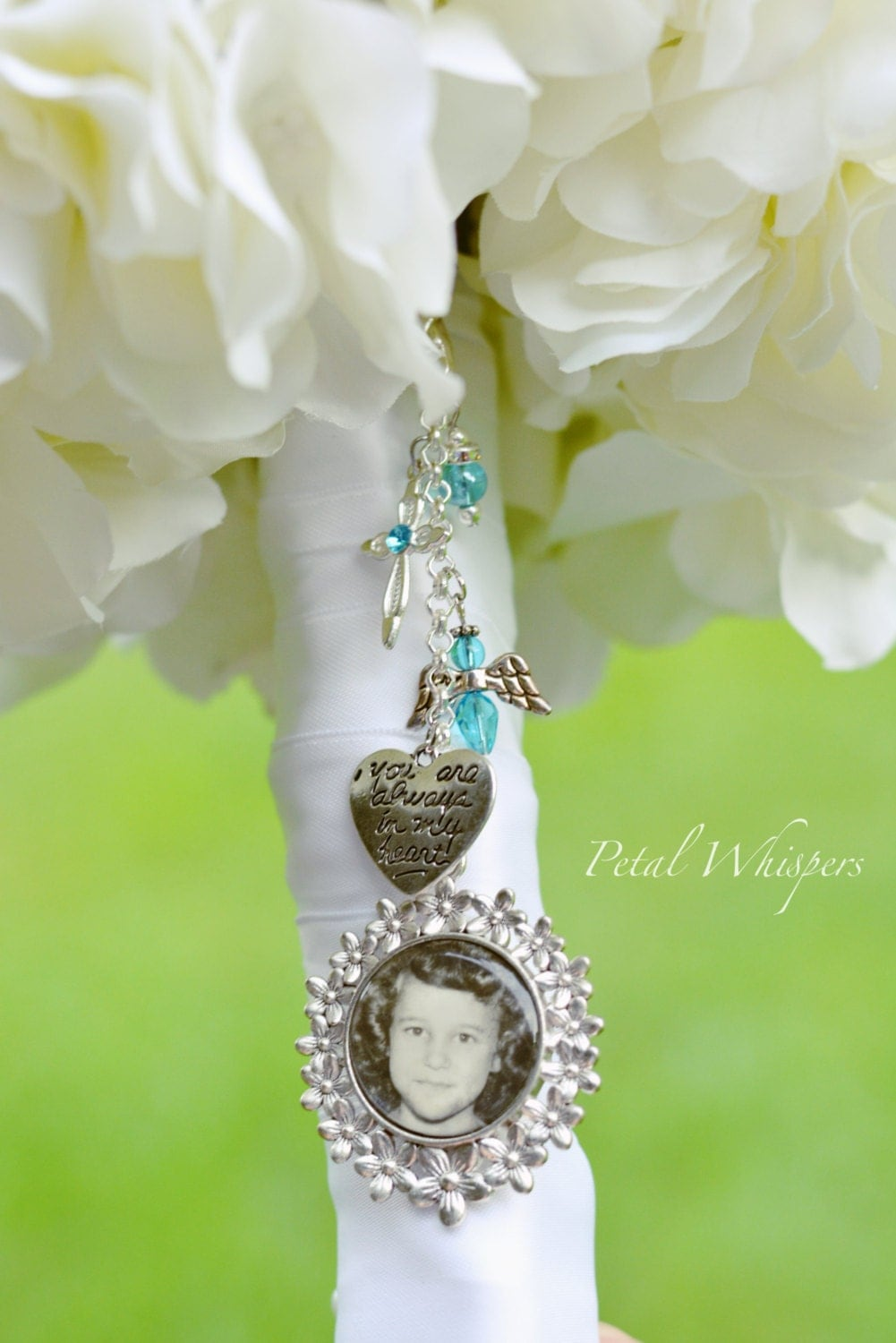 wedding bouquet charm bouquet pendant charm bridal bouquet photo charm turquoise 8446