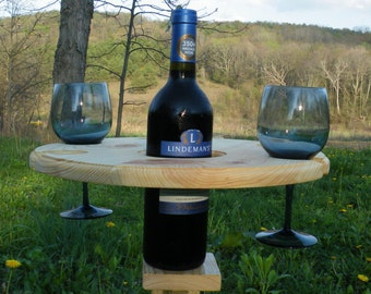 Outdoor Wine Glass Holder - Holds a Bottle and Four Wine Glasses