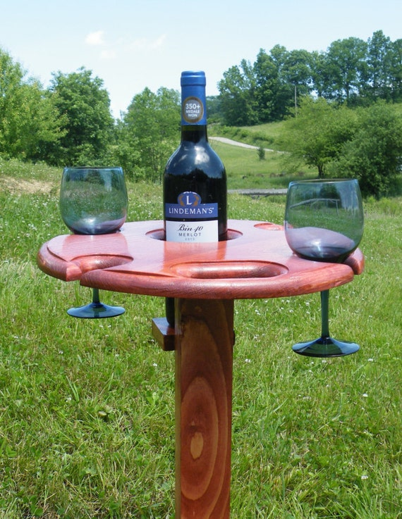 portable wine table wine glass and bottle holder wine