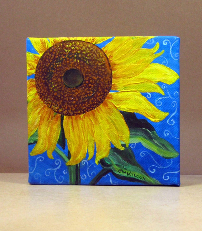 Sunflower Painting on 6x6 Canvas Artist-Signed Original