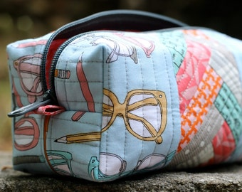 Medium Quilted Zipper Case - retro glasses, pencils, pink, teal, gray, geometric print, cotton, quilted bag, tote, pouch