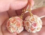 Kissing Ball Earrings, Handmade Pomander Earrings, Rose Ball, Polymer Clay Earrings, Bridesmaid Gift, Wedding Favor, Wedding Flower Ball
