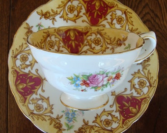 """Grosvenor """"Balmoral"""" Bone China Made in England - Vintage Tea Cup and Saucer -Yellow Flowers, Scrolls, Maroon, Floral"""