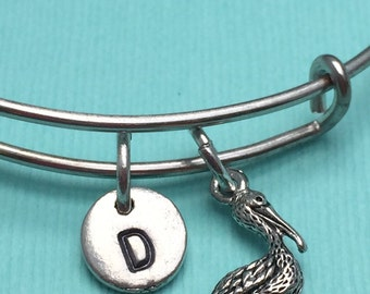 Pelican bangle bracelet, pelican charm bracelet, bird bangle bracelet, bird charm bracelet, personalized bracelet, initial