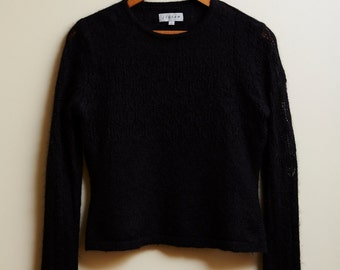90s Jigsaw Mohair Blend Knit Black Jumper • XXS