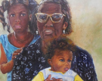 Grand Ma's Love, Original Oil Painting African American Art 11.5x11.5