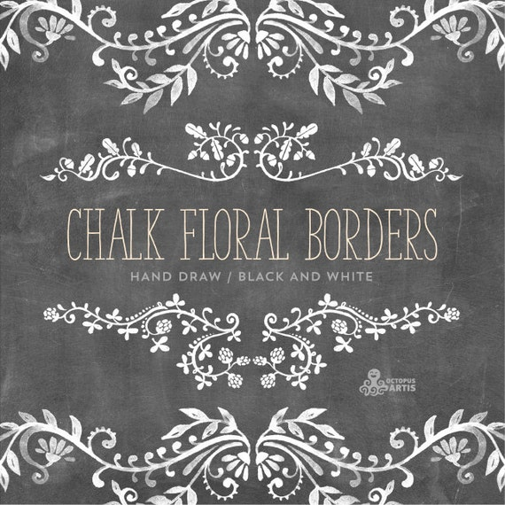 Flower Wall Decor Reversible Mosaic With Chalkboard: Chalk Floral Borders. 7 Digital Clipart. Hand Draw