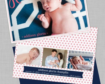 Hello! Pink and Navy Birth Announcement