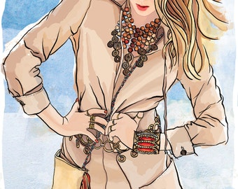 Handdrawn Fashion Illustration Print