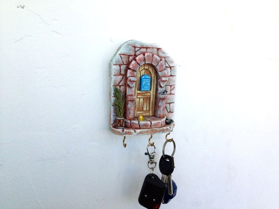 Wall Key Holder Miniature Ceramic Pottery House Castle Brown