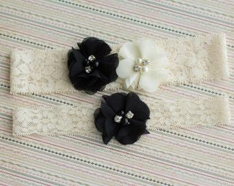Black Wedding Garter Set Bridal Lace