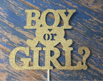 Gender Reveal Cake Topper, Boy or Girl Cake Topper, Baby Shower Cake Topper, Gold Gender Reveal Cake Topper, Gold Cake Topper