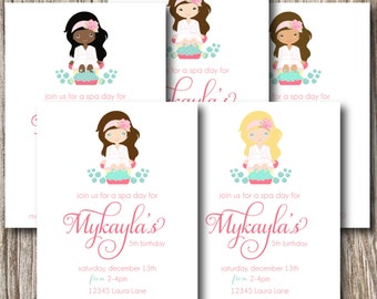 Spa, Spa Day, Facial, Girls Night Out, Birthday, Baby Shower, Invitation